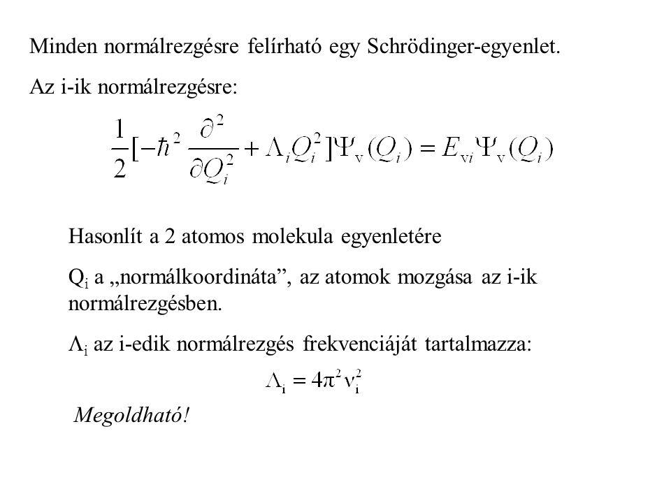 Minden normálrezgésre felírható egy Schrödinger-egyenlet.