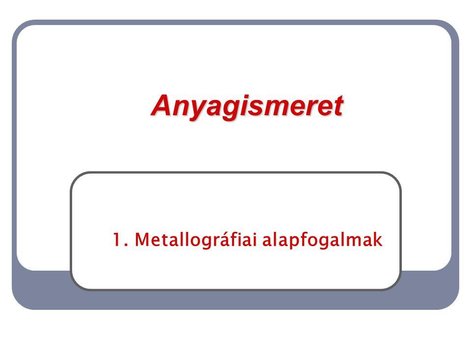 1. Metallográfiai alapfogalmak