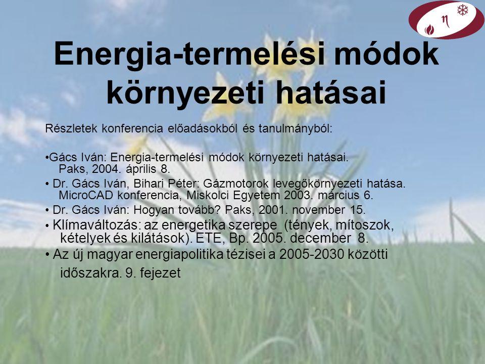 Energia-termelési módok környezeti hatásai