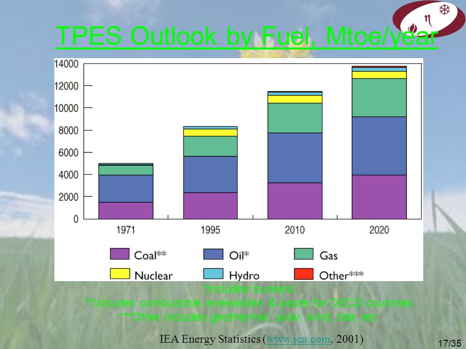 TPES Outlook by Fuel, Mtoe/year