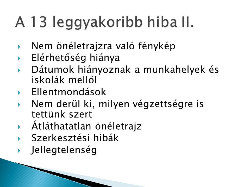 A 13 leggyakoribb hiba II. Nem önéletrajzra való fénykép