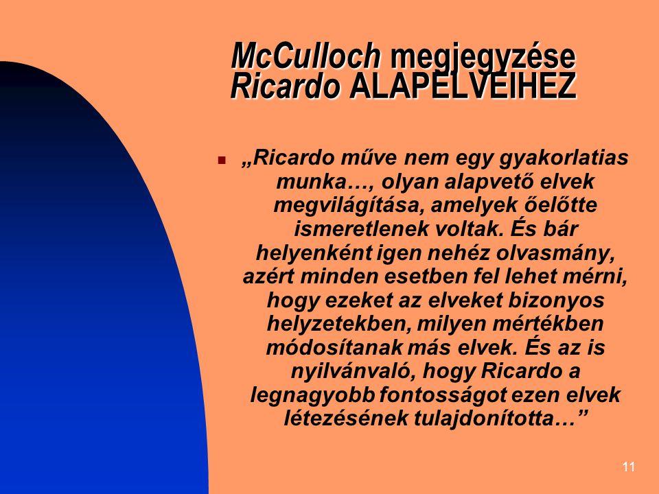 McCulloch megjegyzése Ricardo ALAPELVEIHEZ