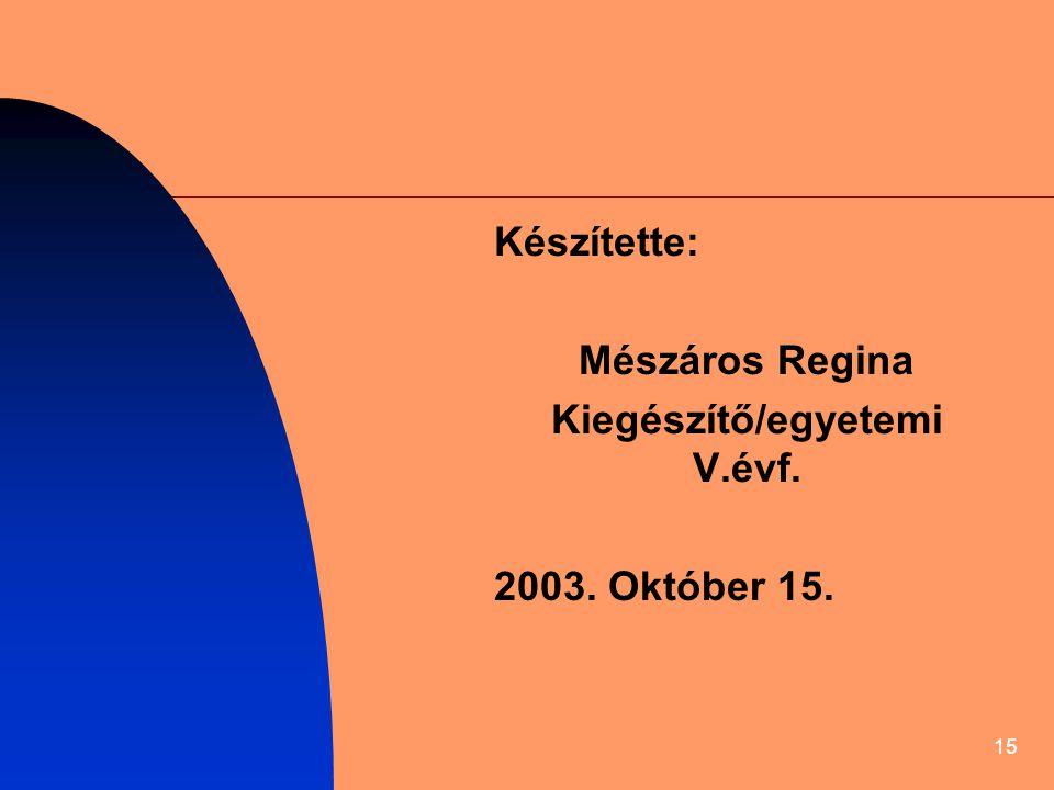 Kiegészítő/egyetemi V.évf.