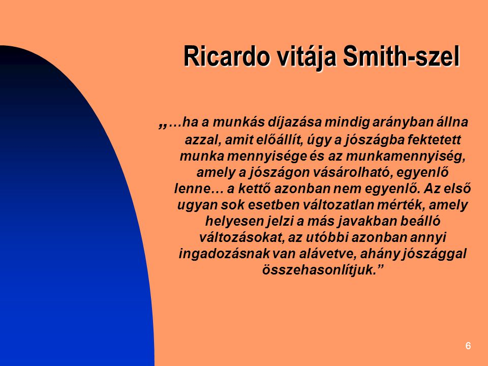 Ricardo vitája Smith-szel