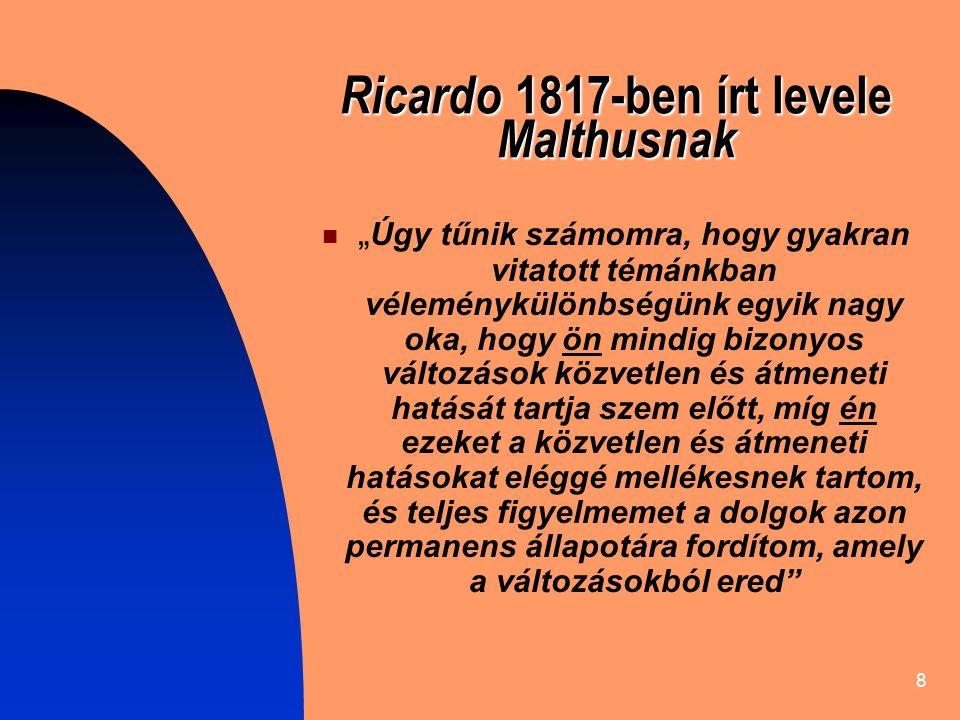 Ricardo 1817-ben írt levele Malthusnak