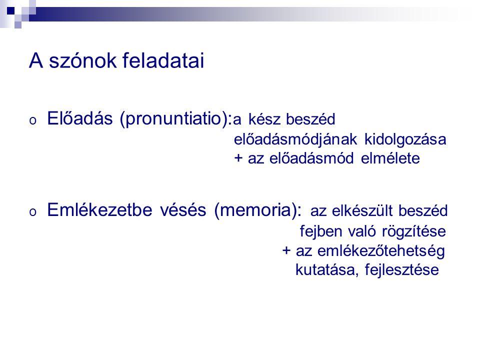 A szónok feladatai Előadás (pronuntiatio):a kész beszéd előadásmódjának kidolgozása + az előadásmód elmélete.