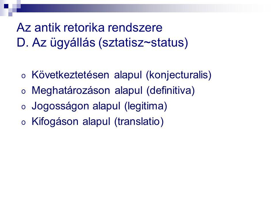 Az antik retorika rendszere D. Az ügyállás (sztatisz~status)