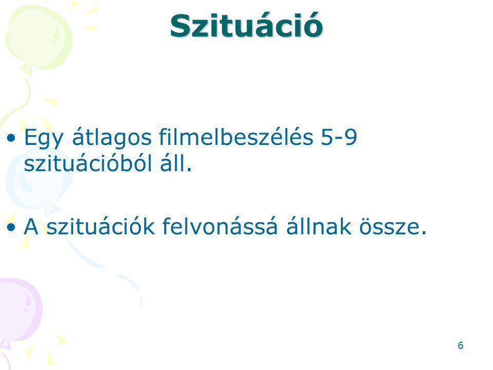 Szituáció Egy átlagos filmelbeszélés 5-9 szituációból áll.