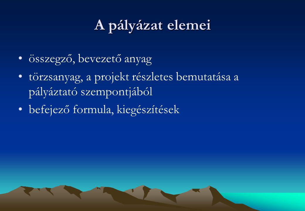 A pályázat elemei összegző, bevezető anyag