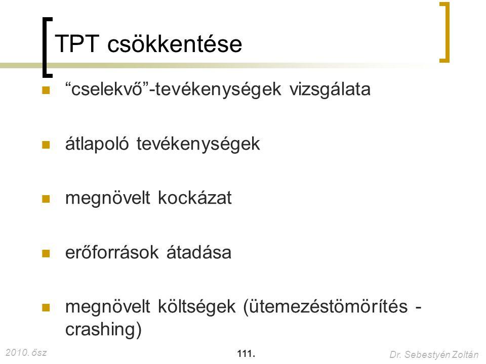 TPT csökkentése cselekvő -tevékenységek vizsgálata