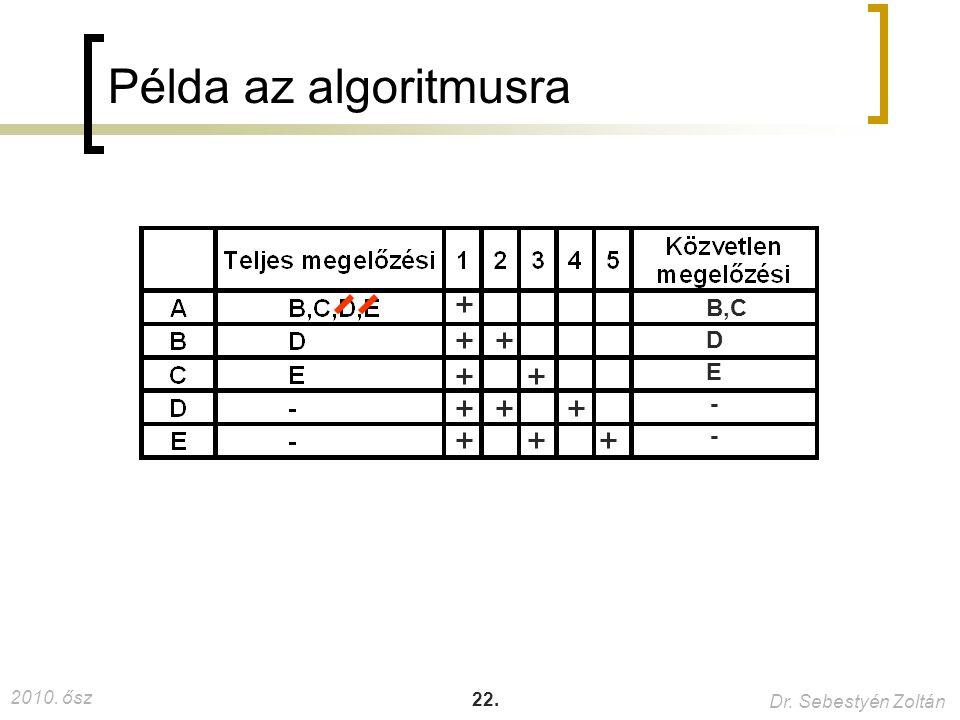 59. Példa az algoritmusra B,C D E -