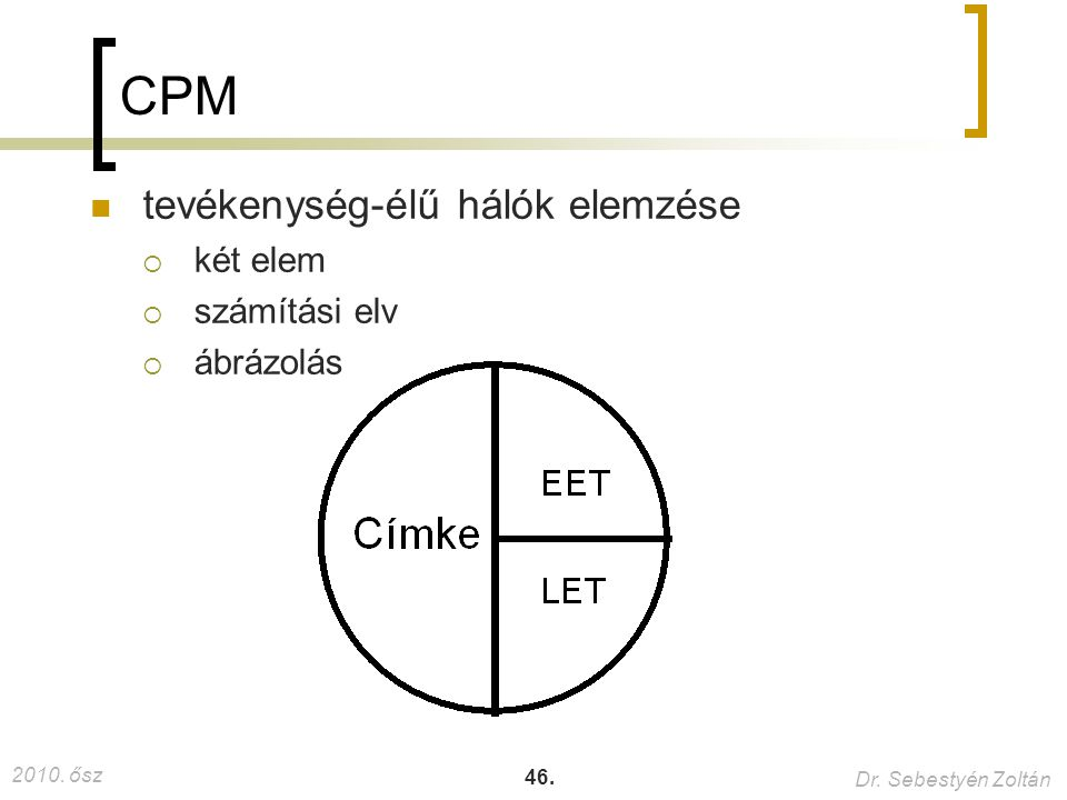 CPM tevékenység-élű hálók elemzése két elem számítási elv ábrázolás