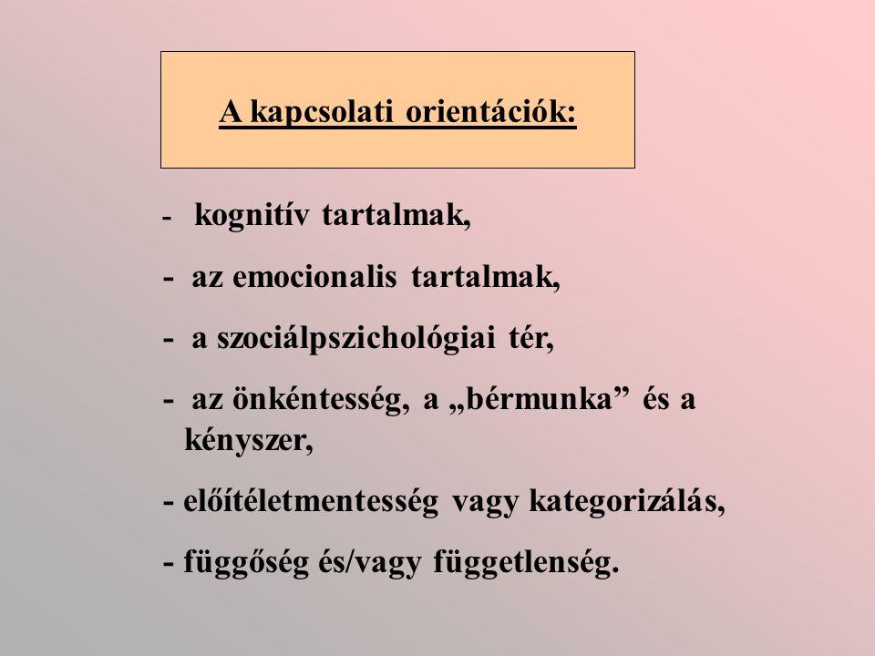A kapcsolati orientációk: