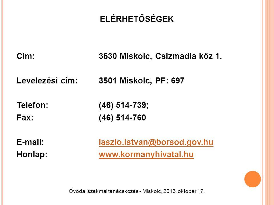 Óvodai szakmai tanácskozás - Miskolc, 2013. október 17.