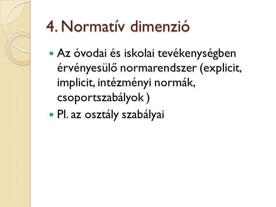 4. Normatív dimenzió Az óvodai és iskolai tevékenységben érvényesülő normarendszer (explicit, implicit, intézményi normák, csoportszabályok )