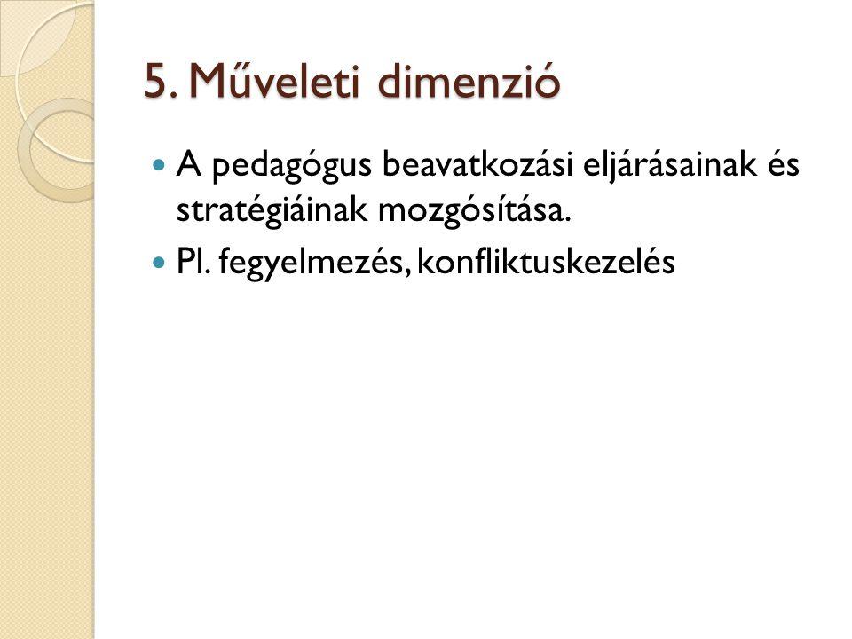 5. Műveleti dimenzió A pedagógus beavatkozási eljárásainak és stratégiáinak mozgósítása.
