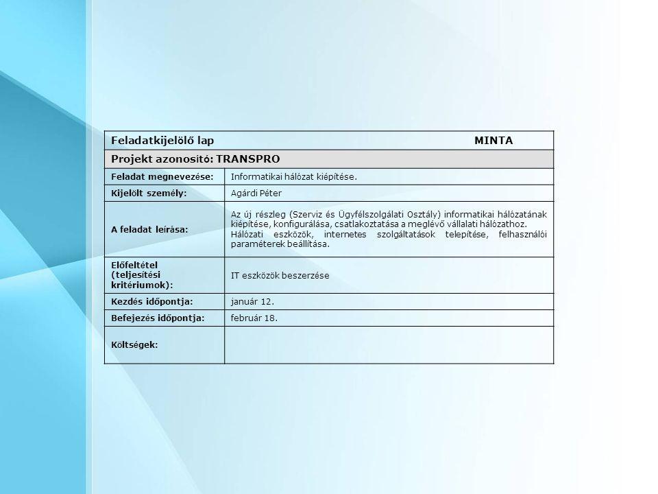 Feladatkijelölő lap MINTA Projekt azonosító: TRANSPRO