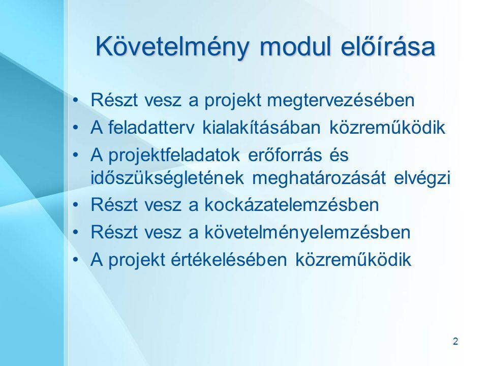 Követelmény modul előírása