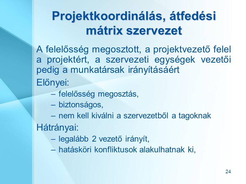 Projektkoordinálás, átfedési mátrix szervezet
