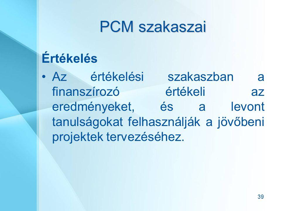 PCM szakaszai Értékelés