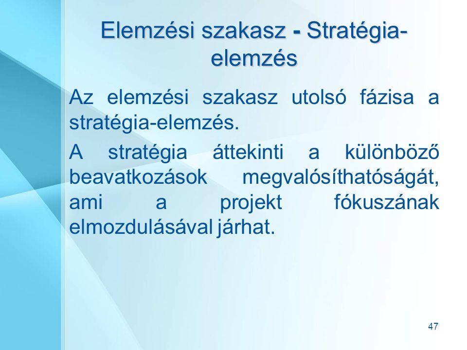 Elemzési szakasz - Stratégia-elemzés