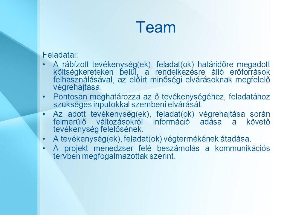Team Feladatai: