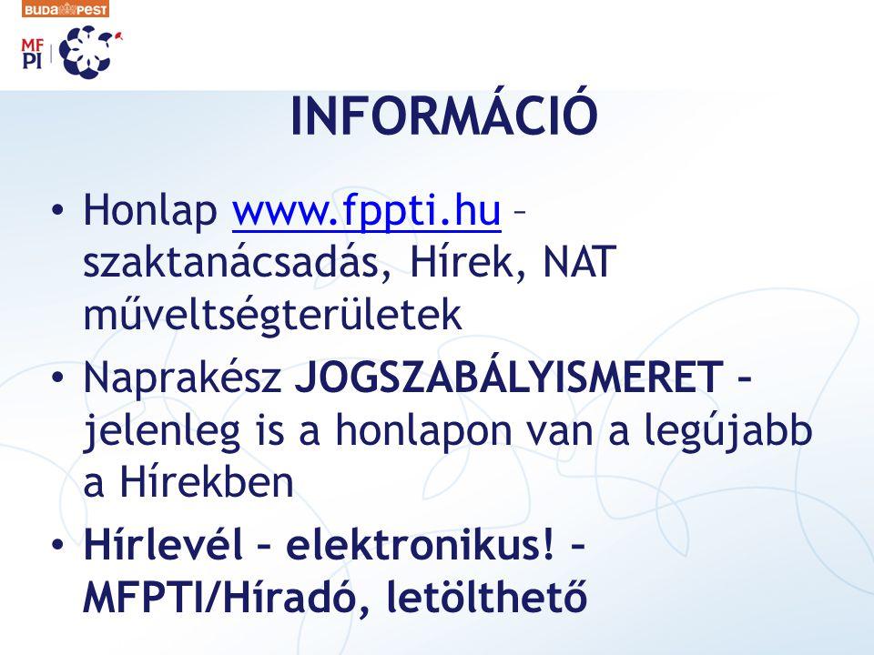 INFORMÁCIÓ Honlap www.fppti.hu – szaktanácsadás, Hírek, NAT műveltségterületek.