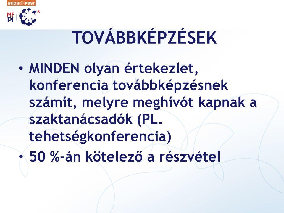 TOVÁBBKÉPZÉSEK MINDEN olyan értekezlet, konferencia továbbképzésnek számít, melyre meghívót kapnak a szaktanácsadók (PL. tehetségkonferencia)