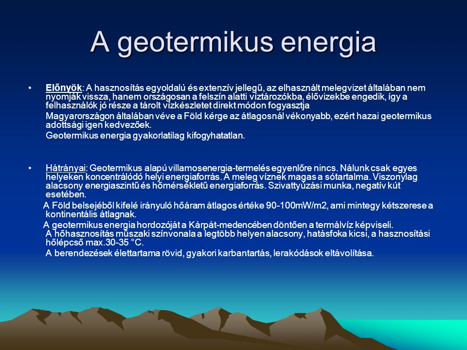 A geotermikus energia