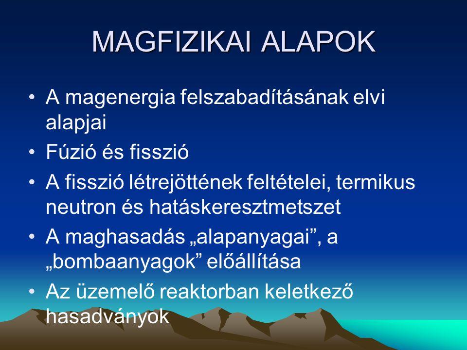 MAGFIZIKAI ALAPOK A magenergia felszabadításának elvi alapjai