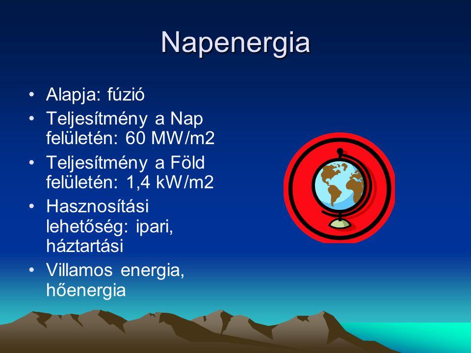 Napenergia Alapja: fúzió Teljesítmény a Nap felületén: 60 MW/m2