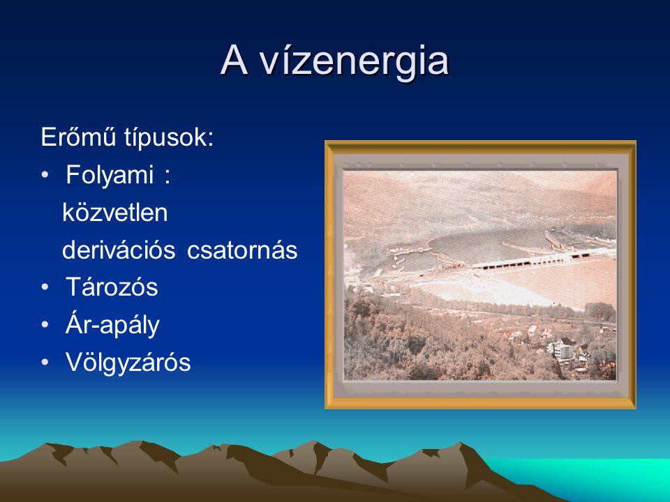 A vízenergia Erőmű típusok: Folyami : közvetlen derivációs csatornás