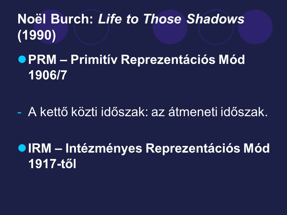 Noël Burch: Life to Those Shadows (1990)