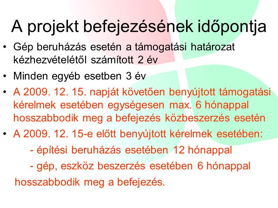 A projekt befejezésének időpontja