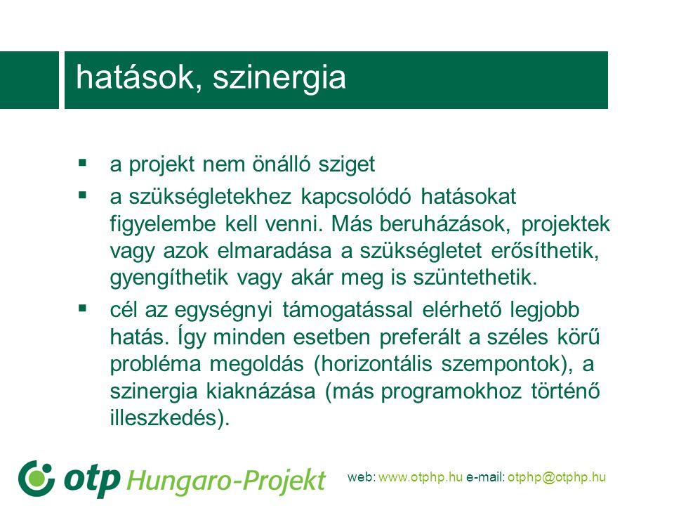 hatások, szinergia a projekt nem önálló sziget