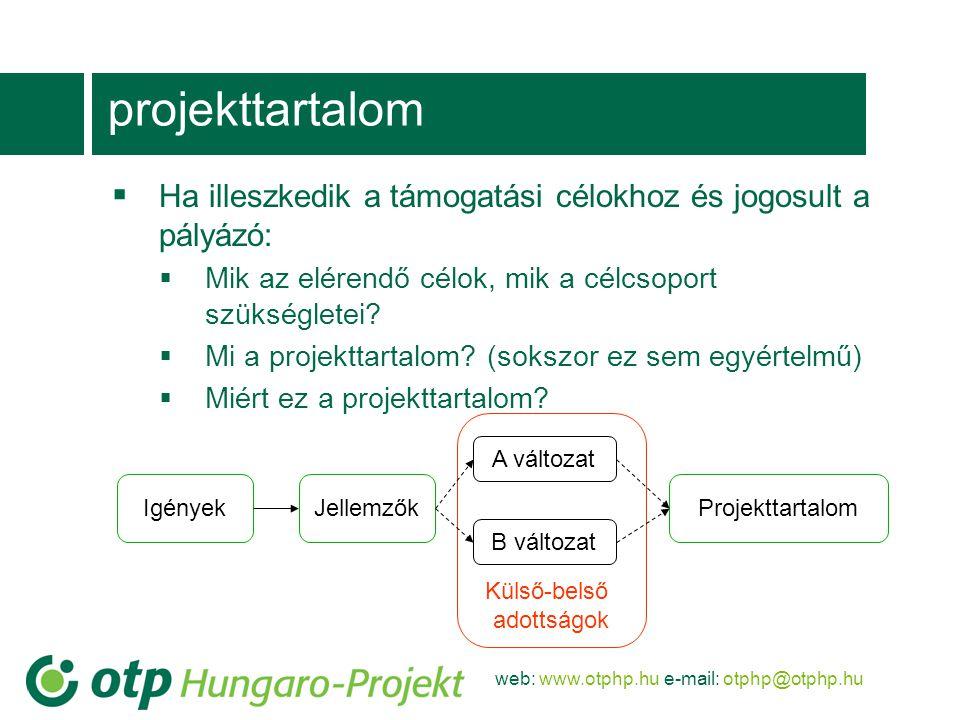 projekttartalom Ha illeszkedik a támogatási célokhoz és jogosult a pályázó: Mik az elérendő célok, mik a célcsoport szükségletei