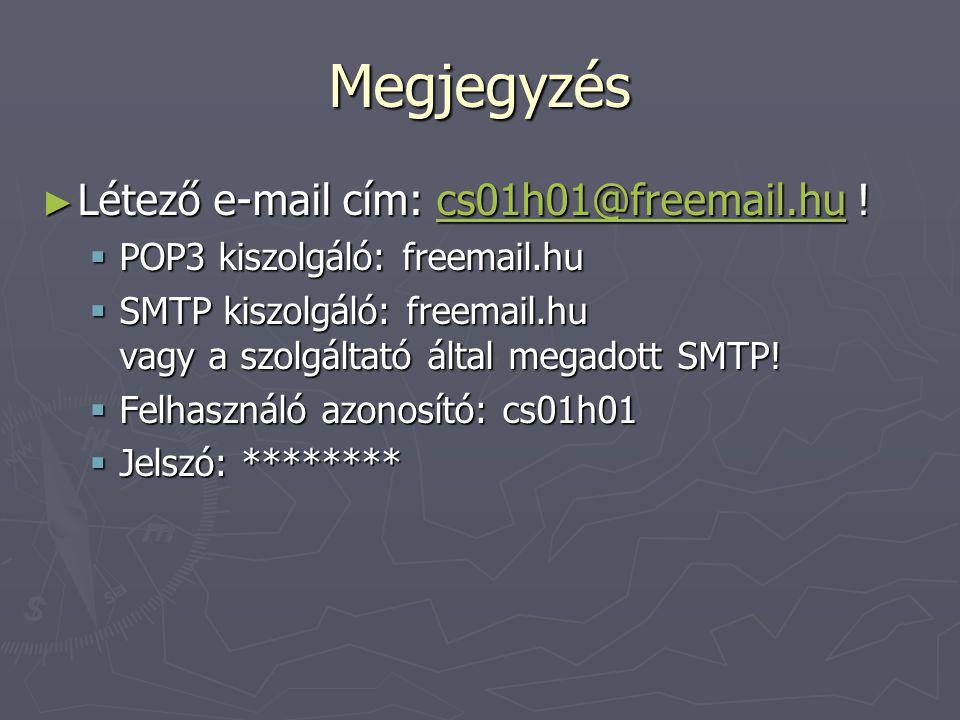 Megjegyzés Létező e-mail cím: cs01h01@freemail.hu !