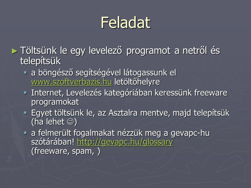 Feladat Töltsünk le egy levelező programot a netről és telepítsük