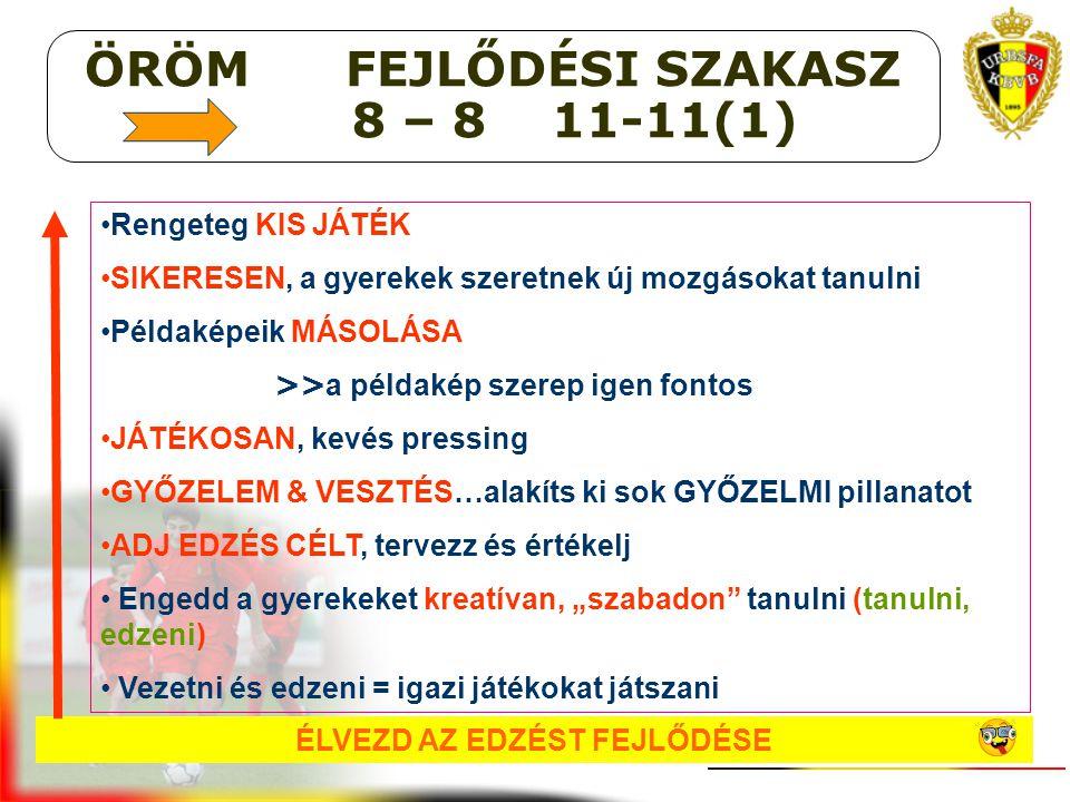 ÖRÖM FEJLŐDÉSI SZAKASZ 8 – 8 11-11(1) ÉLVEZD AZ EDZÉST FEJLŐDÉSE