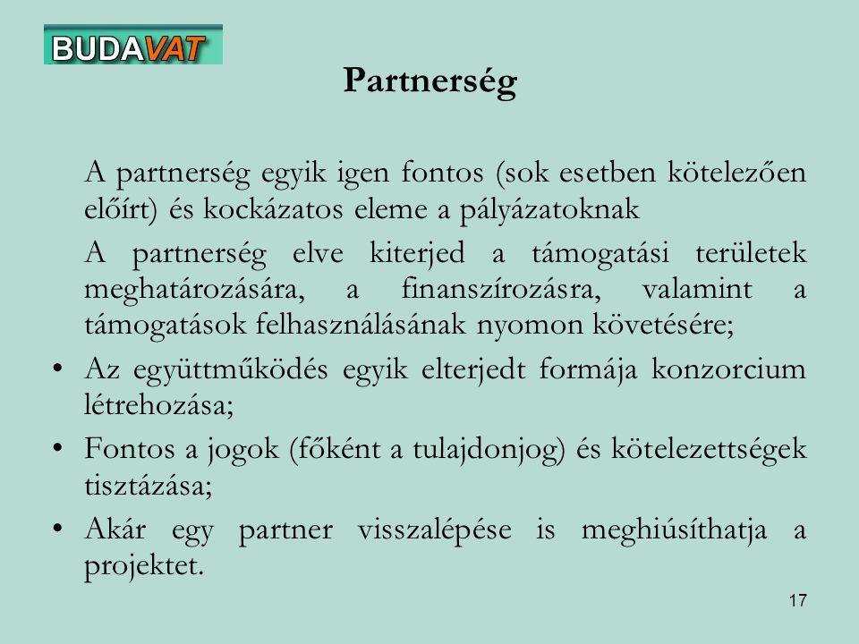 Partnerség A partnerség egyik igen fontos (sok esetben kötelezően előírt) és kockázatos eleme a pályázatoknak.