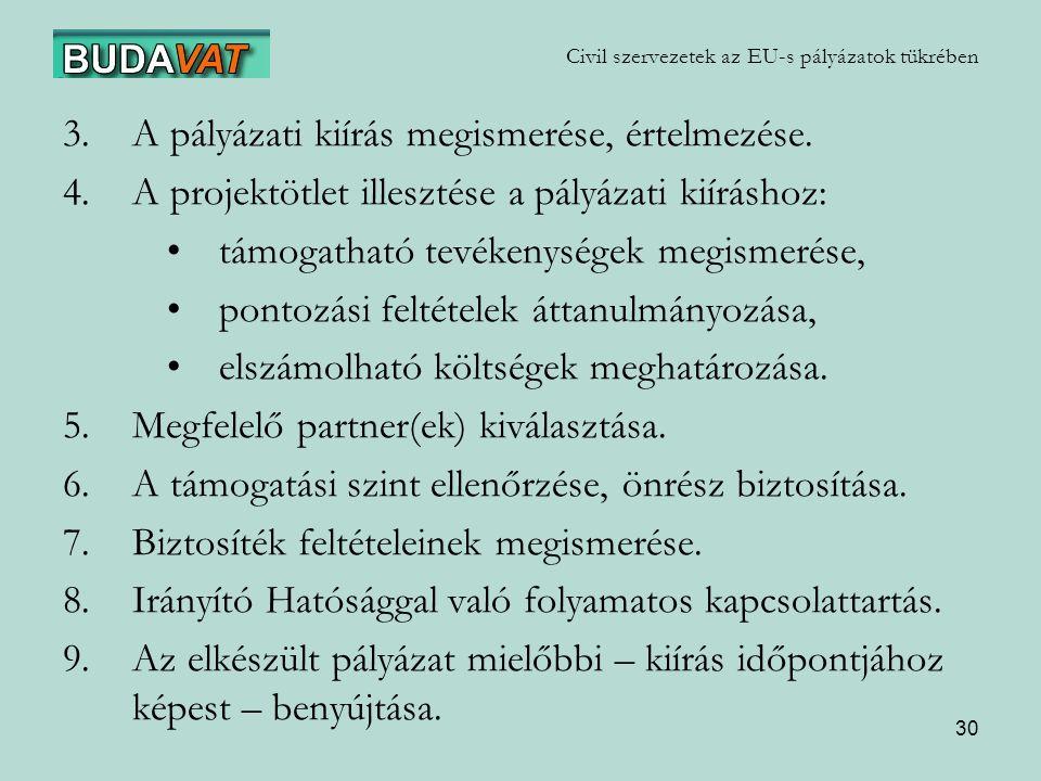 Civil szervezetek az EU-s pályázatok tükrében