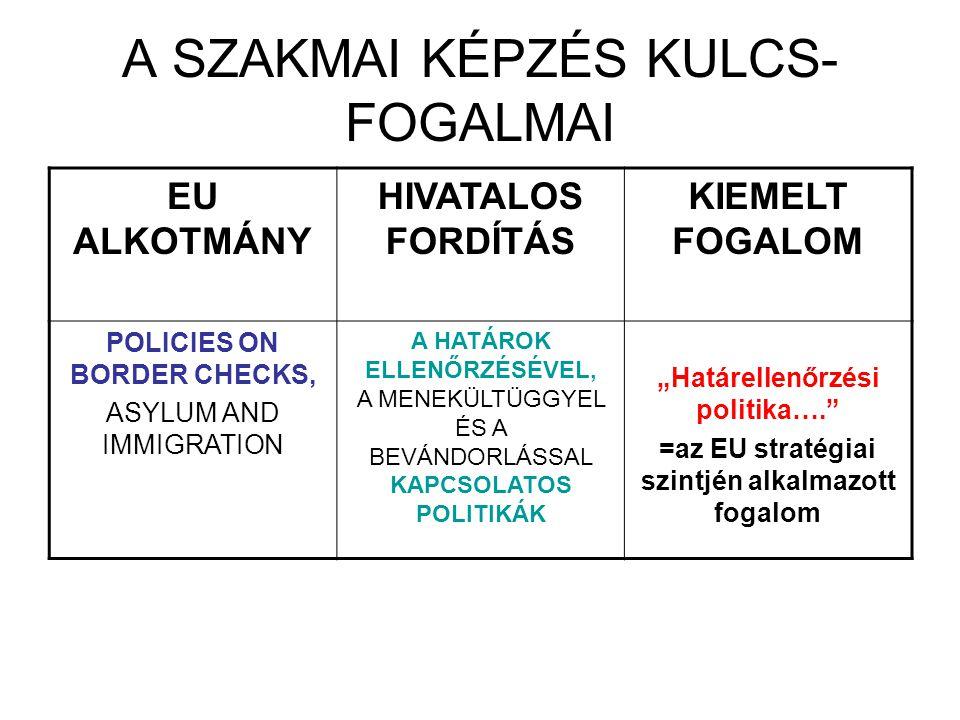 A SZAKMAI KÉPZÉS KULCS-FOGALMAI