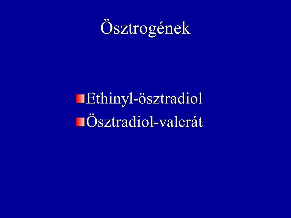 Ösztrogének Ethinyl-ösztradiol Ösztradiol-valerát