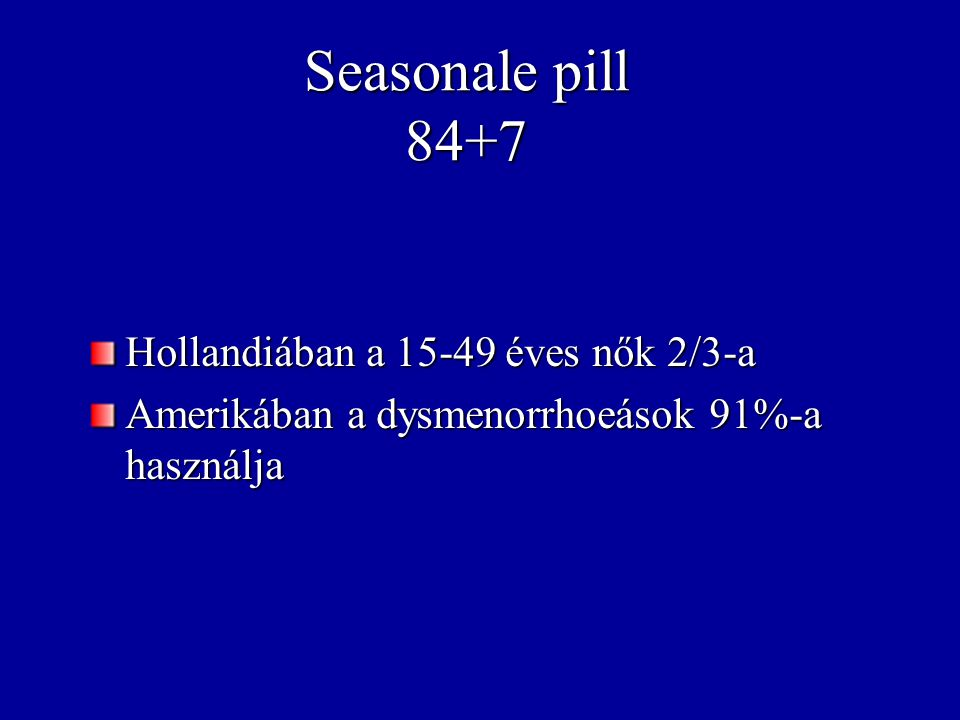 Seasonale pill 84+7 Hollandiában a 15-49 éves nők 2/3-a