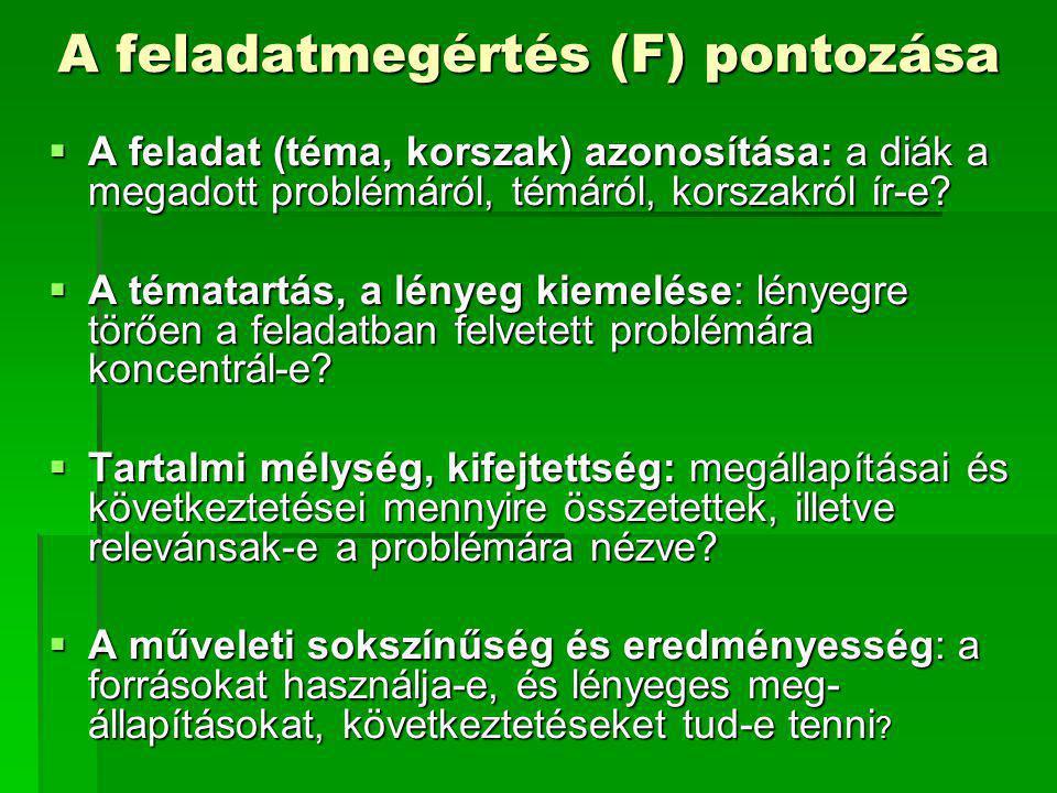 A feladatmegértés (F) pontozása