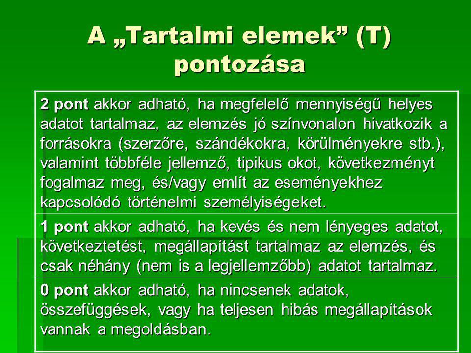 """A """"Tartalmi elemek (T) pontozása"""