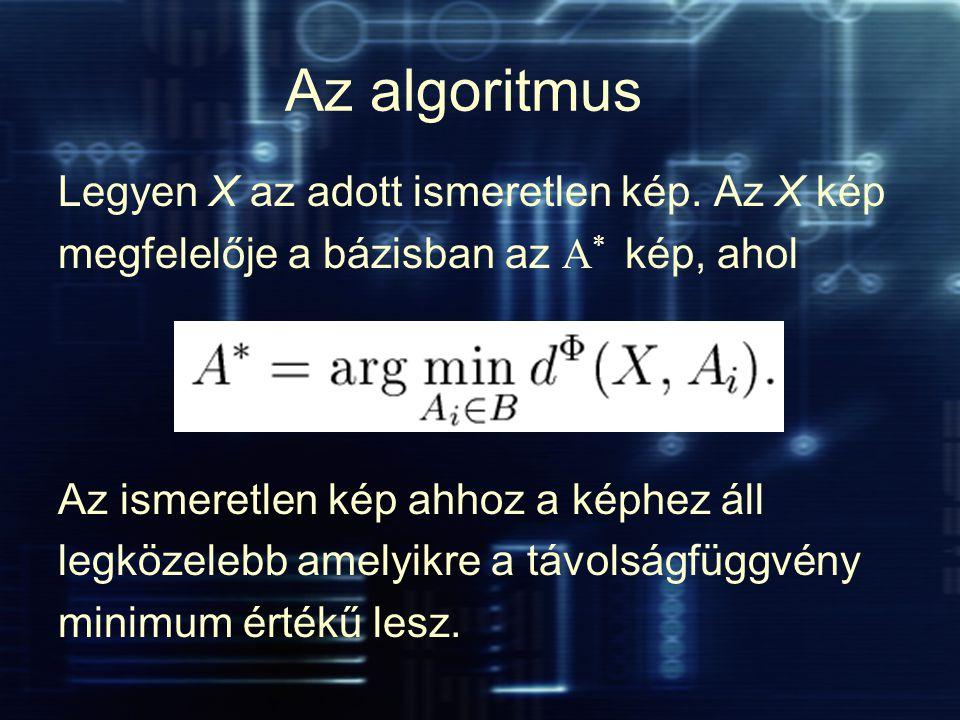 Az algoritmus Legyen X az adott ismeretlen kép. Az X kép