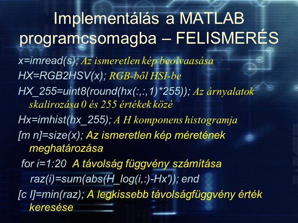 Implementálás a MATLAB programcsomagba – FELISMERÉS