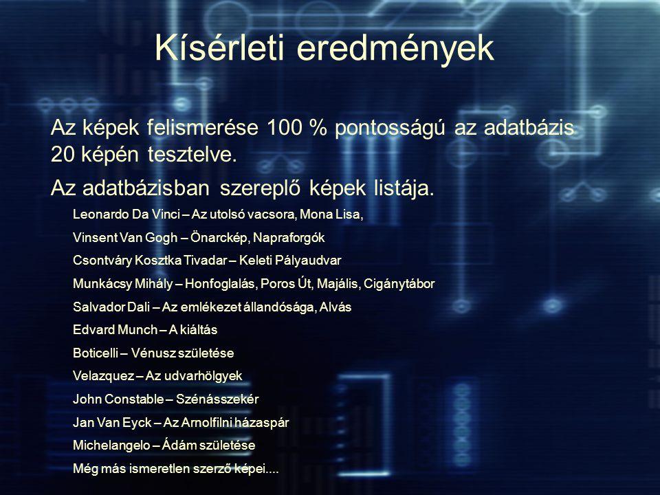 Az adatbázisban szereplő képek listája.