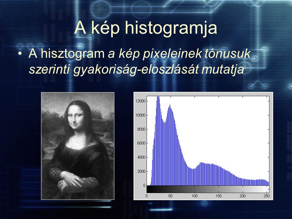 A kép histogramja A hisztogram a kép pixeleinek tónusuk szerinti gyakoriság-eloszlását mutatja